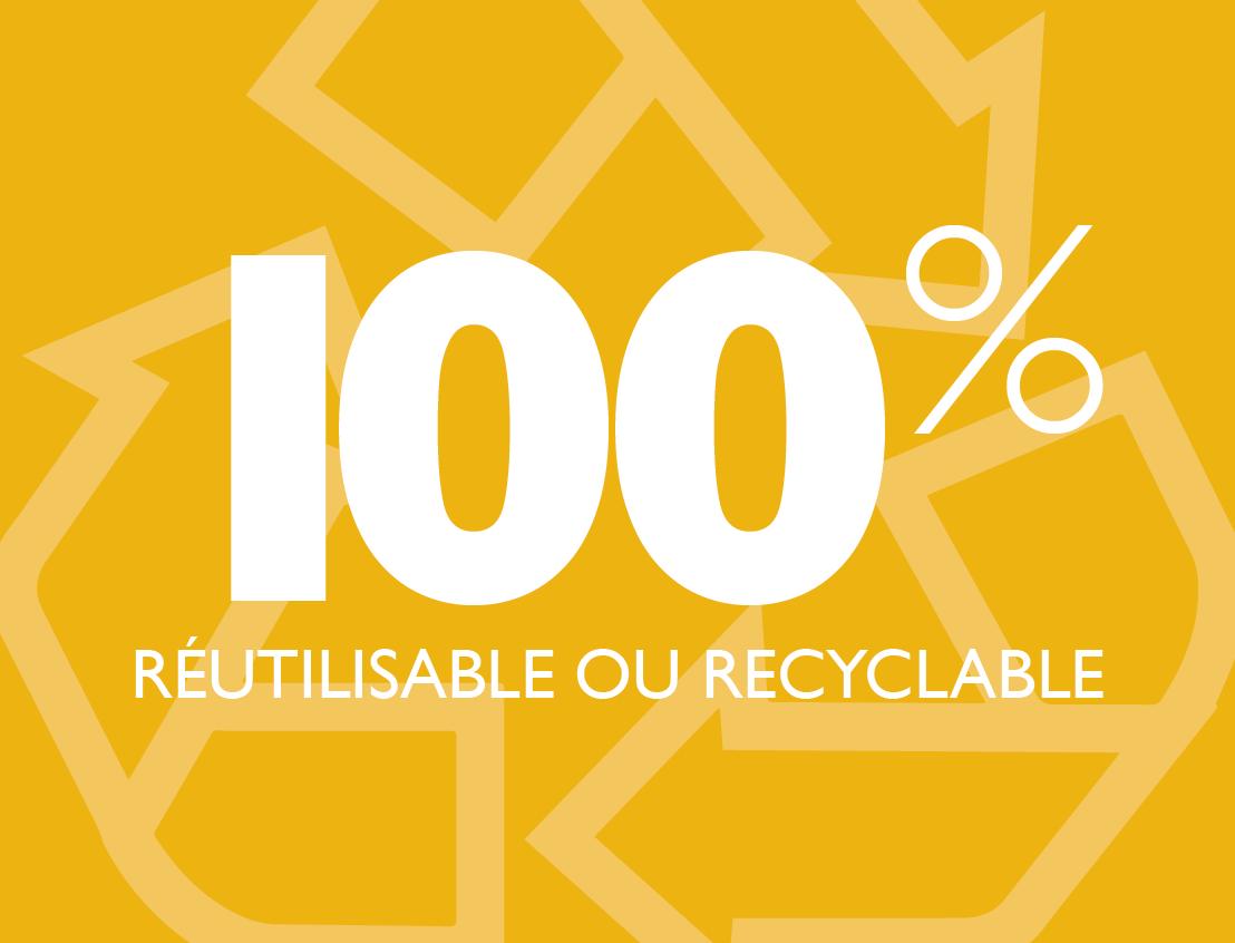 100 % Réutilisable et recyclable